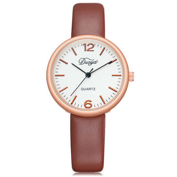 DUOYA 2018 NEW Fashion Women Men Couple Watch Rounded Analog Pointer Quartz Wrist Watch Clock For Lovers