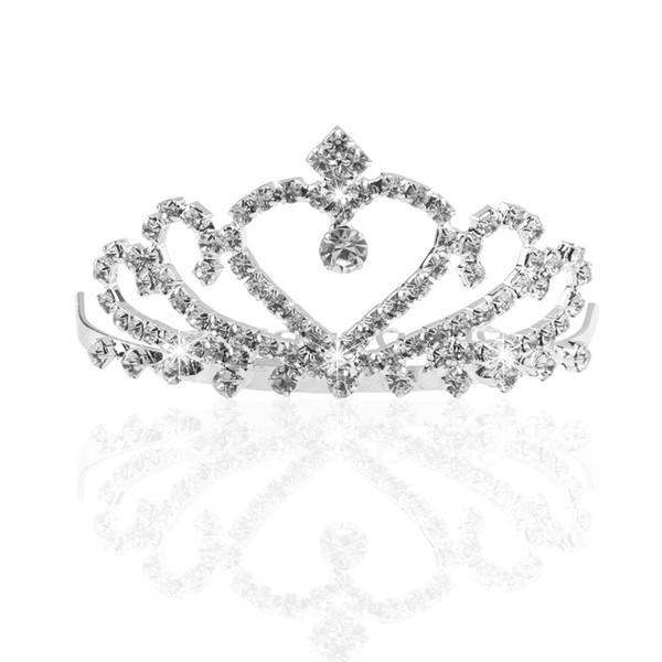 Strass di cristallo nuziale scintillante Corona / diadema / fascia con pettine (argento)