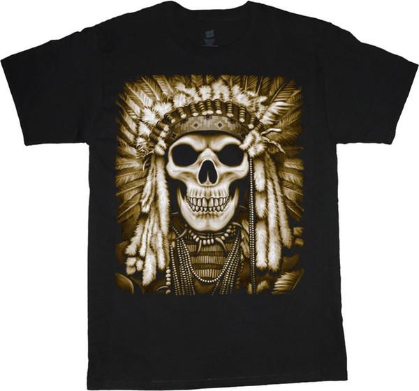 Summer 2018 New Native American Indian t-shirt head dress aztec warrior decal design shirts Summer sportwear casual t-shirt