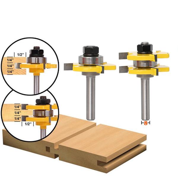 2pcs/Set 8mm Shank 2 Bit Tongue and Groove Router Bit Set Wood Milling Cutter flooring knife