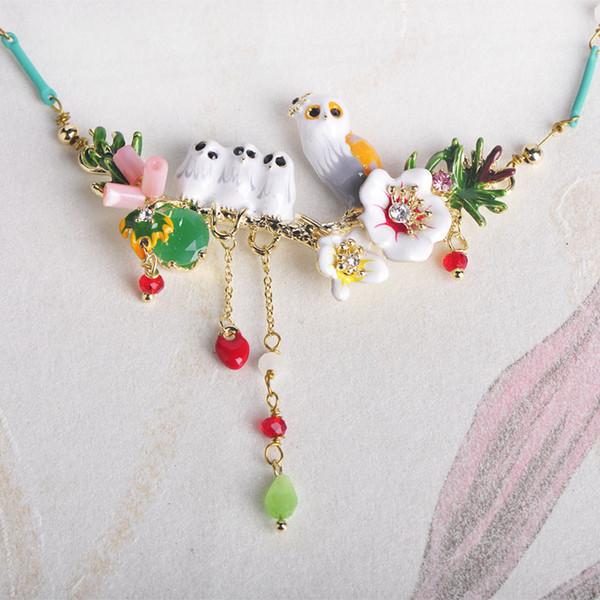 Blucome Colorful Flower Birds forma di smalto Shell Shell collana girocollo gioielli perline per le donne ragazza abiti accessori per feste