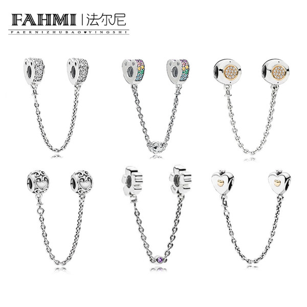 FAHMI 100% 925 Sterling Silver 1:1 Charm Heart & Crown Safety Chain MULTI-COLOUR ARCS OF LOVE SAFETY ENCHANTED SAFETY WILDFLOWER OF