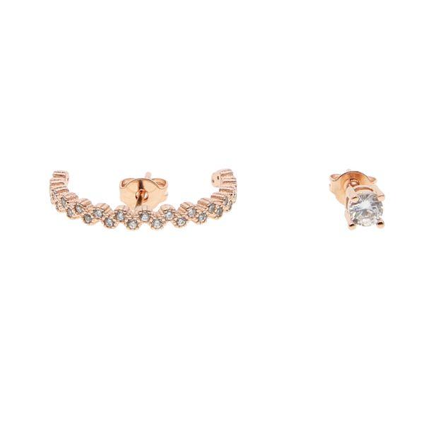 Elegance moon Cubic Zirconia party Earring 18kk rose gold Jewelry women best decoration round mismatch designer earing 2018 new