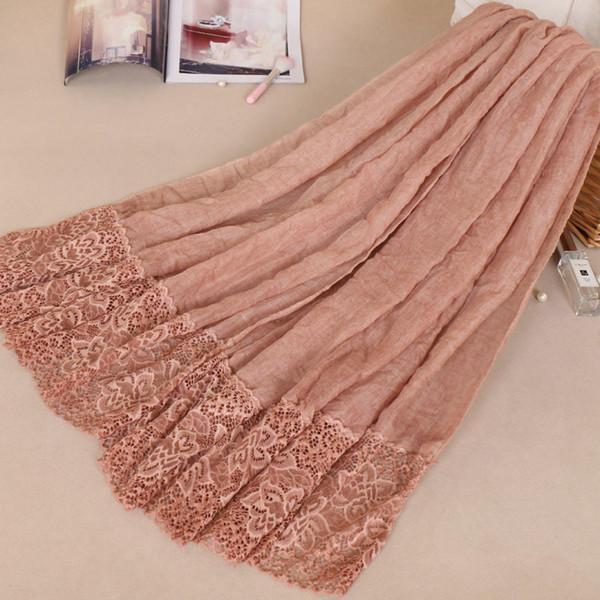 Women Cotton Viscose Dots Silk Lace Patchwork Ruffles Scarf Shawl Pashmina Head Wraps Elegant Lady Islamic Muslim Fashion Scarves