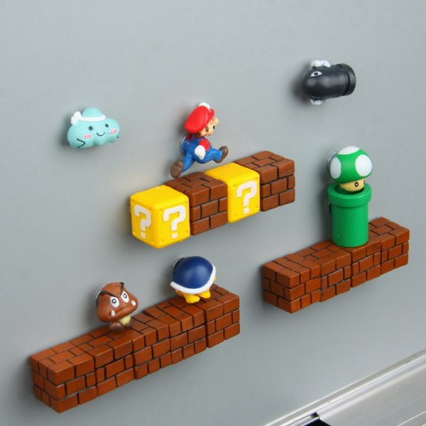 3D Cute Super Mario Resin Fridge Magnets Suit for Kids Home Decoration Ornaments Figurines Wall Marios s Bricks