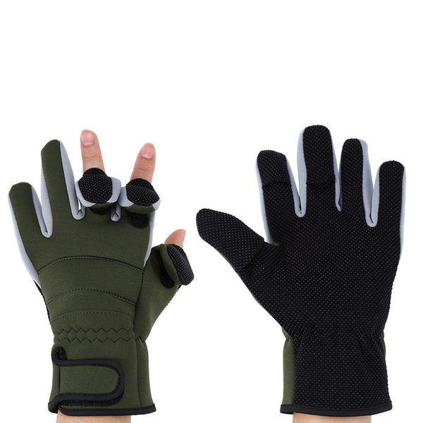 1 Pair Full-finger Three Cut Fingers Warm Fishing Gloves a magic prop in famous animation - Doraemon