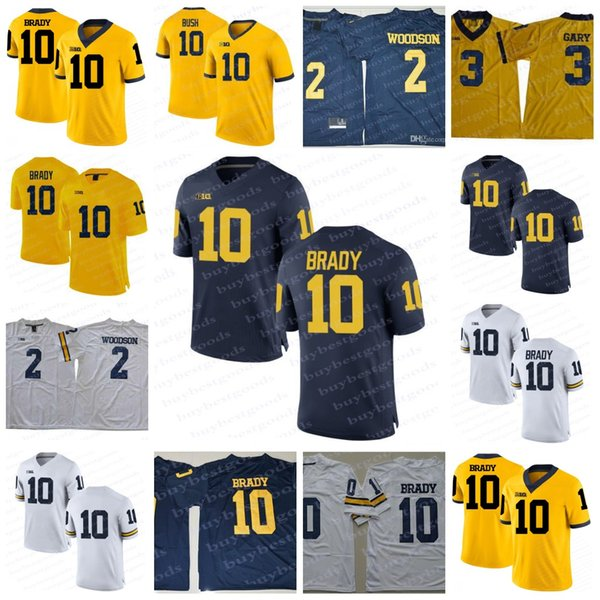 NCAA Michigan Wolverines  10 Tom Brady Jersey  2 Charles Woodson 3 Rashan  Gary 21 Desmond Howard White Navy College Football Jerseys S-3XL f697e5813