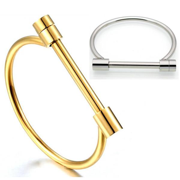 nuovi braccialetti Open tipo bracciali 2018 new fashion Acciaio inossidabile Bracciali per donna uomo Gioielli oro argento all'ingrosso D forma Bangles