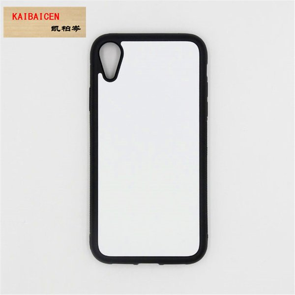 For IPhone XR 6.1 inch Soft Rubber Sublimation TPU Silicone Bank case Cover with Metal Insert +Tape