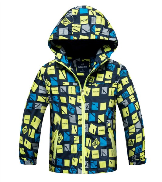 top popular Boys plus velvet windbreaker Children's Jackets Waterproof Thickening Hooded Jacket 2 color 5 size DHL freeshipping 2019