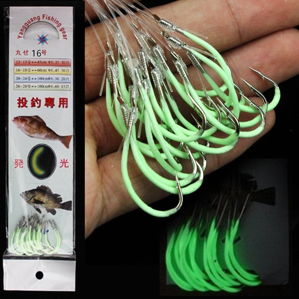 30pcs/pack 12/14/15/16# Luminous Lures Hook (With Fishing Lines) Barbed Hooks Fishing Hooks Fishhooks Pesca Carp Fishing Tackle