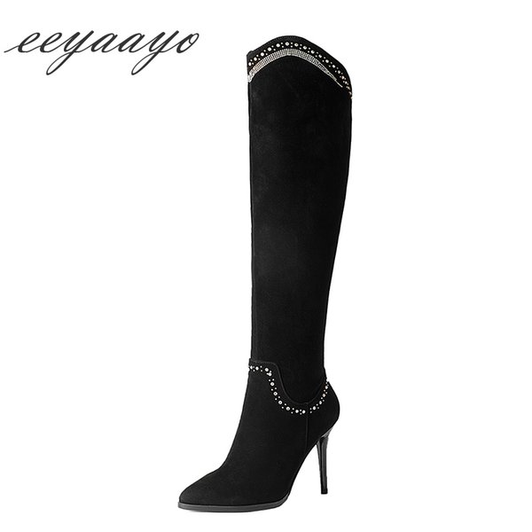 2018 New Kid Suede Cristal D'hiver Femmes Bottes Aux Genoux Hauts Talon Fin Pointu Toe Zipper Sexy Dames Femmes Chaussures Bottes Noires