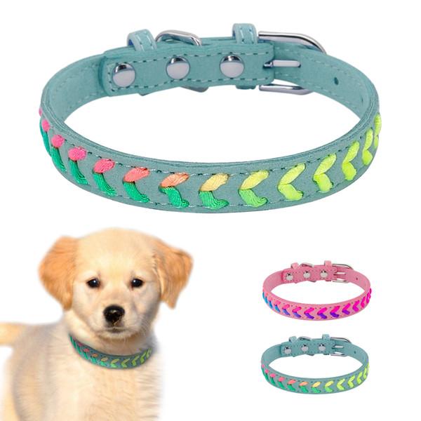 Didog Wildleder Welpen Hund Geflochtener Kragen Einstellbar Kleine Mittlere Haustier Hunde Katzen Halsbänder Für Chihuahua Yorkshire Rosa Blau S M