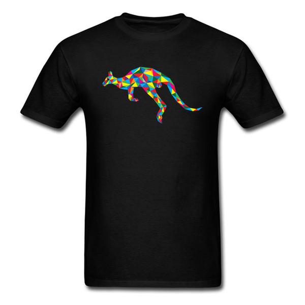 Colorful Image Animal T Shirt Men Youth College Pure Cotton Clothes Geometric Kangaroo Patterns T-shirt Custom Family Tshirt