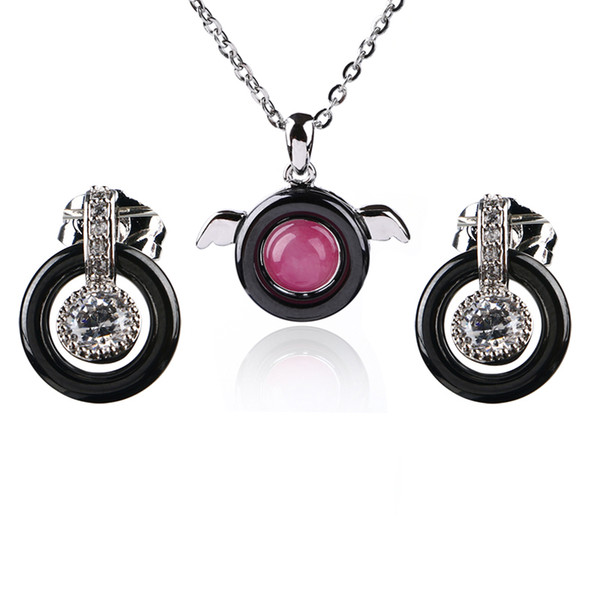 Fashion Bridal Jewelry Set Black Ceramic Rhinestone Stud Earrings And Round Pink With Angel Wing Pendant Necklace For Women Gift
