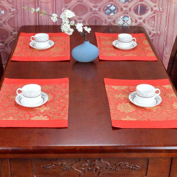 Rectangular Chinese Jacquard Damask Table Mat Placemats Wedding Christmas Plate Bowl Mat Fashion Dining Table Pads 29 x 39 cm
