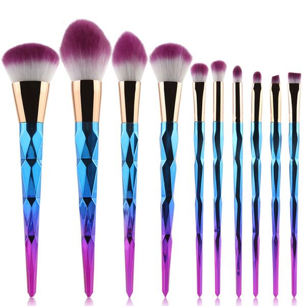 10 rose gold threaded rod makeup brush beauty tool unicorn corner face makeup brush beauty kit