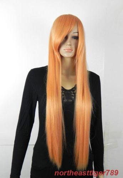 Hot Sell Fashion Long Orange Oblique Bangs Straight Women's Hair Wig Wigs