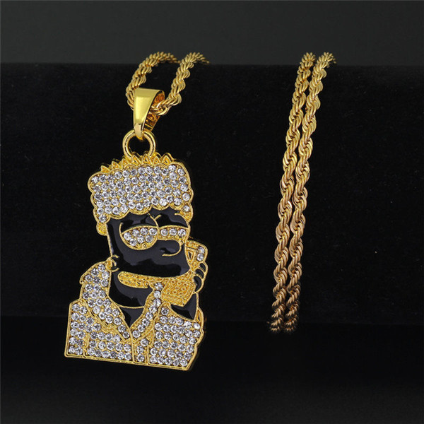 Hip Hop Iced Out Quavo Choker Full Rhinestone Cartoon Figure Pendent Necklace Present Bling Rapper Jewelry 2PCS
