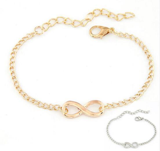 2017 unico design catena bracciali all'ingrosso fascino caldo donne uomini regalo fatto a mano 8 forma gioielli infinito bracciali oro / argento