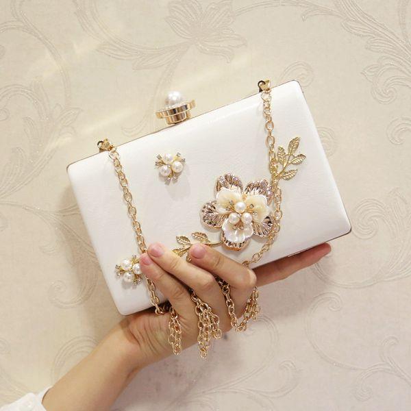 2017 flower evening bag day clutch mini chain small explosion-proof pearl rhinestone flower female bags wedding handbag
