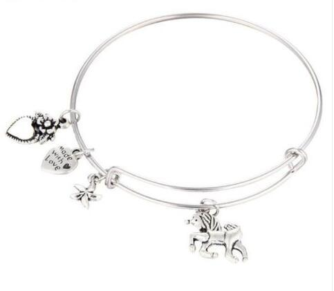 unicorn Flower Heart MADE WITH LOVE Heart Charm Expandable Wire Bangles Vintage Silver Cuff Bracelets Bangles For Women Jewelry Fashion Gift
