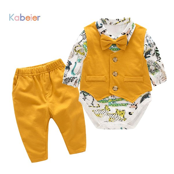 Baby Newborn Boy Clothes Sets Birthday Gift Boys Baby Romper Vest Tops Long Pants 3Pcs Outfits Set 0-24M Boys Clothes Romper