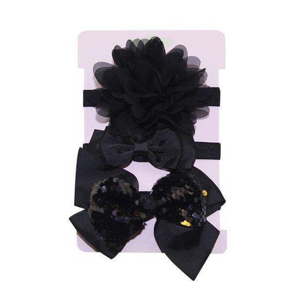 Headwear Baby Girls Hairbands Baby Girls Sequins Bowknot Hairband 3Pcs Kids Elastic Floral Headband Set tiara infantil #4S12
