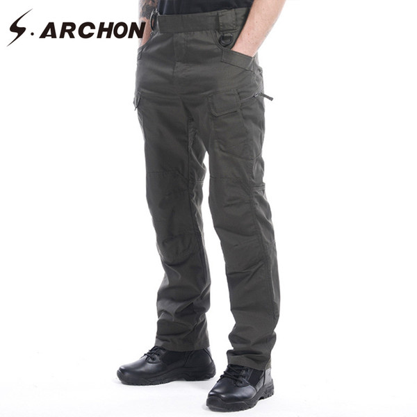 S.ARCHON Multifunction Waterproof Military Cargo Pants Cotton Ripstop Tactical Army Pants Man Casual Elastic Breathable Trousers Y1892801
