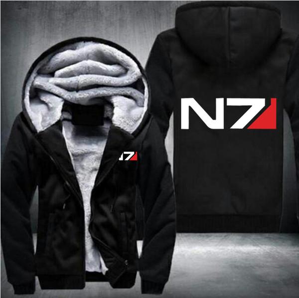 USA taille Hommes Mass Effect N7 Zipper Veste Sweat Épaissir À Capuche Manteau Casual Sweatshirts Hommes De Mode Sweat À Capuche Streetwear