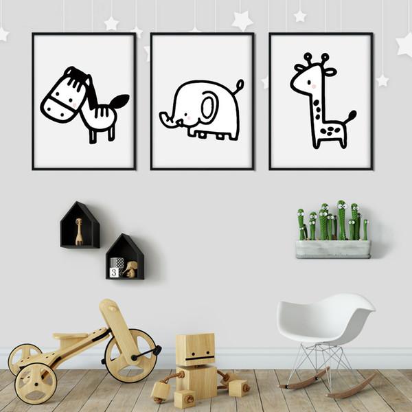 Acheter Enfants Chambre Art Style Nordique Décoration Moderne Impression Murale Animal De Bande Dessinée Peinture Minimalisme Mode Affiche Photos De