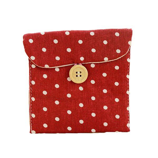 Portable Polka Dot Best Gift Girl Cotton Diaper Sanitary Napkin Bag Packing Organizers Travel Shopping Bag Fashion Mini Wallets
