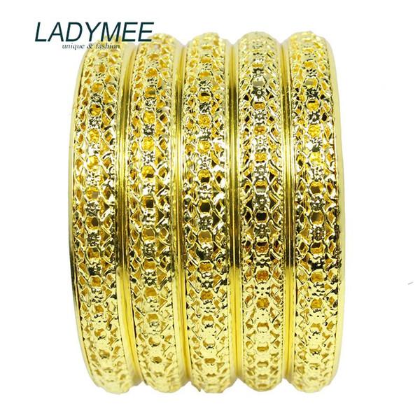 whole saleBracelet Bangles Indian Jewelry Gold Metal Bracelets for Women Fashion Gold Bangles Wholesale 5PCS/LOT DIY Jewelry Pulsera Gift