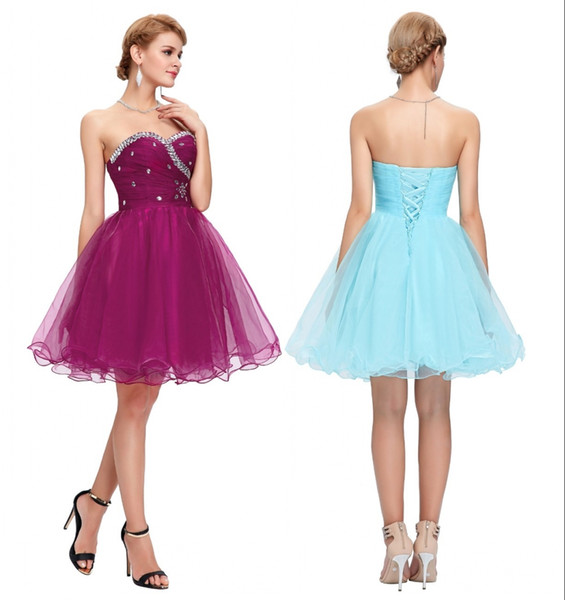 Sweetheart Short Evening Dresses Pink Blue Black White Prom Dresses Beading Sequin Ruched Sexy Party Gowns DH718