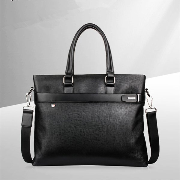 Men's handbag with single shoulder and horizontal style with slanted zipper is dark and high-end PU interlayer zipper 18075