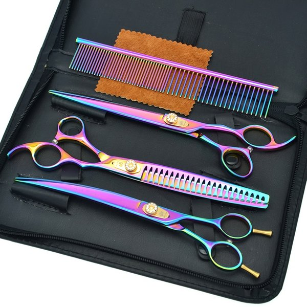 """Purple Dragon 8.0"""" Rainbow 3pcs Kits Pet Scissors Hair Cutting&Thinning&Curved Hair Shears for Dog Grooming Hot Imported Clippers LZS0510"""