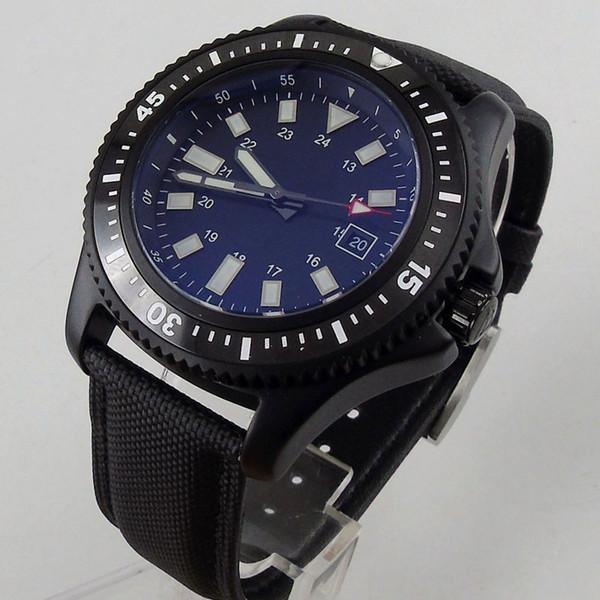 Solid 44mm PVD no logo men's watch black dial luminous date window ceramic bezel MIYOTA Automatic movement wrist watch men 122