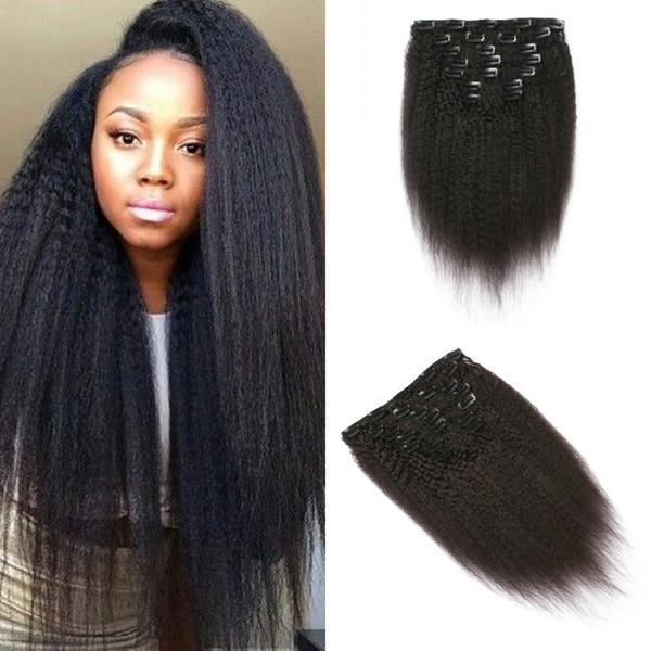 7pcs/set Kinky Straight 8-24inch Clip In Hair Extensions Hot Selling Products Natural Color Can Be Dyed Non Processed FDshine HAIR