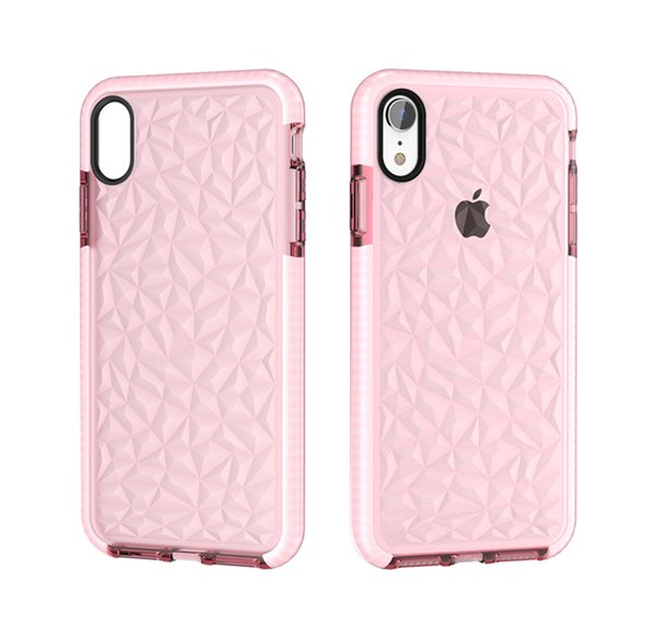 ultra-thin and lightweight Clear Soft TPU Diamond Pattern Drop Protection Cases for Iphone 6 7 8 8plus x XS XR XS Max