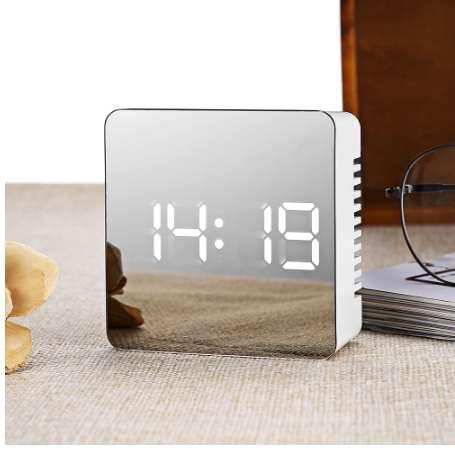 Digital LED Alarm Clock Multifunctional Noiseless LED Mirror Clock Display Time / Temperature Electronic Desk Table Clocks