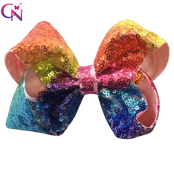 10 Pcs Lot 5 Rainbow Sequin Bow With Clip For Girls Kids Handmade Boutique Bling Bows Barrettes Hairgrips Hair Accessories