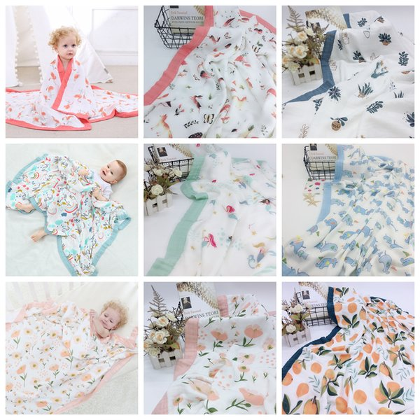 120cm 4 Layer Muslin Bamboo Cotton Air Conditioning Blanket Thick Baby Swaddles Wrap Soft Newborn Blankets Bath Infant Play Mat 30pcs AAA819