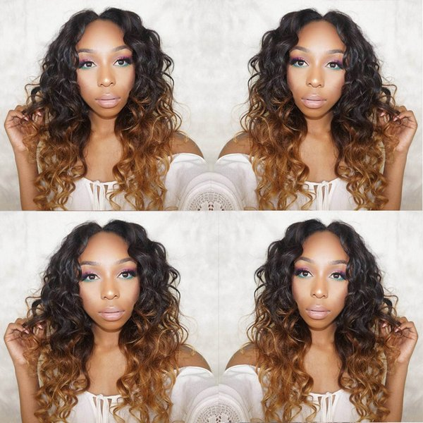 Brazilian Human Hair Ombre Lace Front Wigs Wavy Glueless Full Lace Wig 1b/30 Ombre Hair Wig Pre Plucked Baby Hair