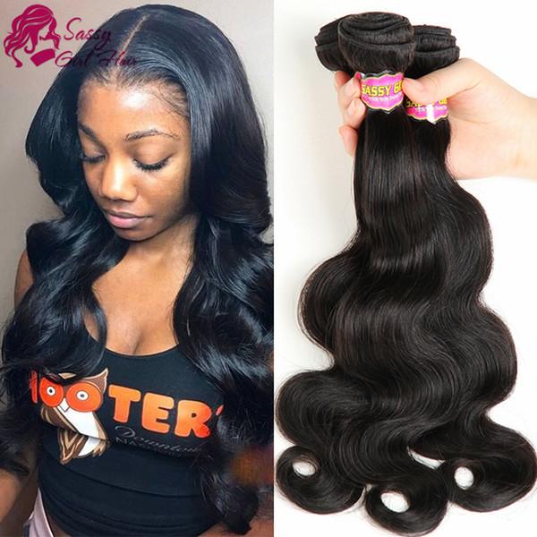 7A brasiliani dell'onda del corpo dei capelli 3 pacchi 100% non tessuta tessuto dei capelli umani vergini colore naturale può tingersi, arricciato, raddrizzato SASSY GIRL