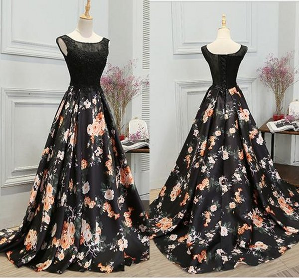 2018 New Black Lace Evening Dresses A Line Scoop Sleeveless Printed Sweep Train Long Prom Party Red Carpet Gowns Cheap Plus Size