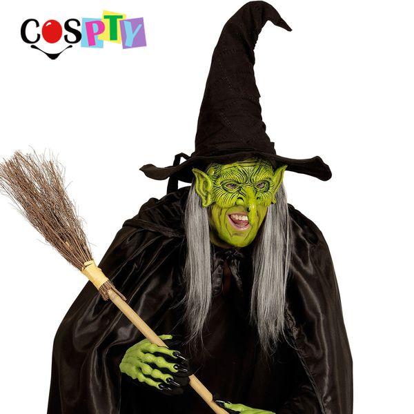 Cospty Halloween Mascaras Disfraces Carnival Festival Party 3D Soft Pu Foam Witch Masquerade Crossdresser Green Goblin Mask