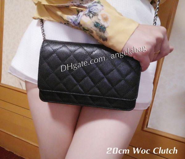 5A calidad Bolsos de las mujeres Woc Clutch 33814 Negro Caviar de cuero Mini solapa solapa bolsas de hombro 20cm Pequeño Crossbody Messenger Bag