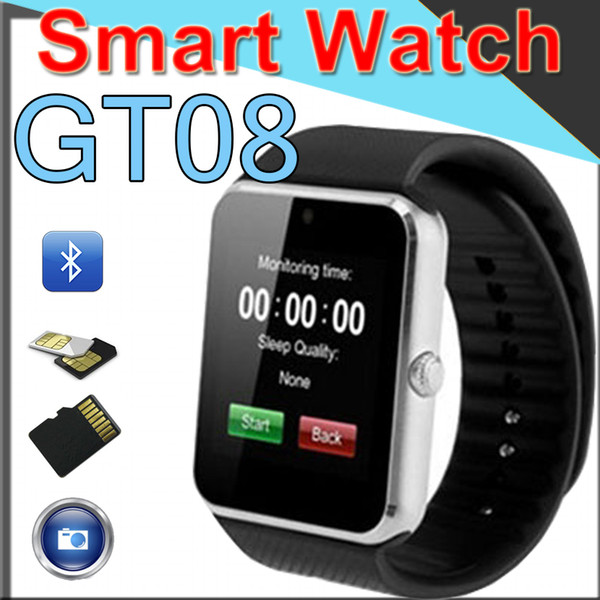 GT08 Bluetooth Smart Watch mit SIM-Karten-Slot und NFC Health Designer Luxusuhren Android und für iOS-Apple iwatch Band DZ09 Smart Watch