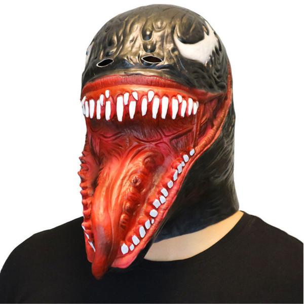 Scary Venom Spider Man Adult Size FULL Overhead Latex Costume Mask Halloween Hood Latex Snake Head Mask Cosplay Prop