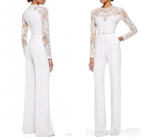 2019 new White Mother Of The Bride Pant Suits Jumpsuit With Long Sleeves Lace Embellished Women Formal Evening Wear Custom Made 2017